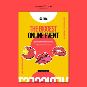 Modelo de pôster de evento online