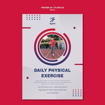 Modelo de pôster de exercício físico diário