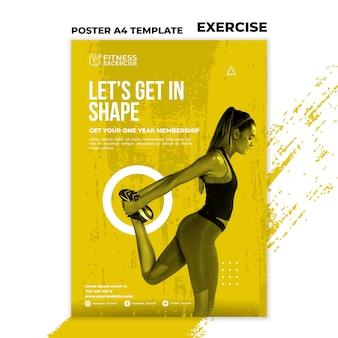 Modelo de pôster de exercícios físicos