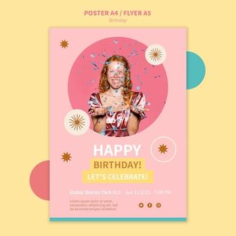 Modelo de pôster de feliz aniversário