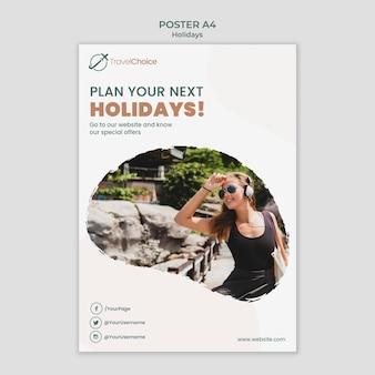 Modelo de pôster de férias com foto