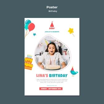 Modelo de pôster de festa de aniversário de criança