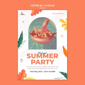 Modelo de pôster de festa de verão