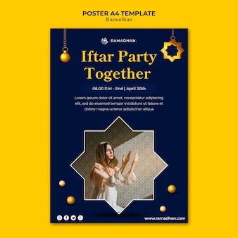 Modelo de pôster de festa iftar