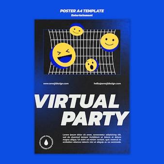 Modelo de pôster de festa virtual