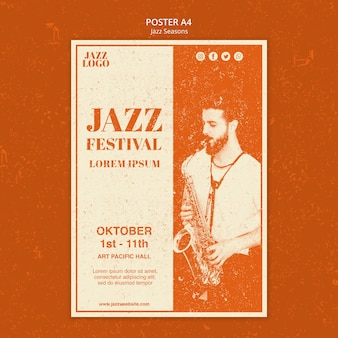 Modelo de pôster de festival de jazz