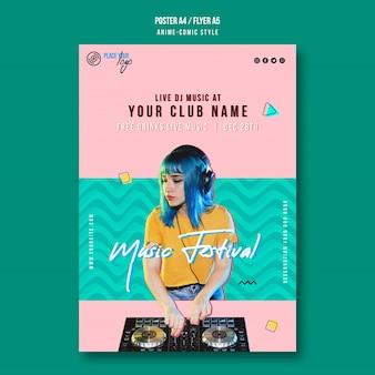 Modelo de pôster de festival de música de menina com cabelo azul