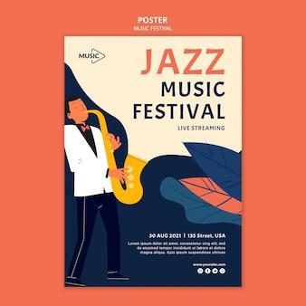 Modelo de pôster de festival de música jazz