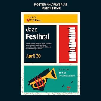 Modelo de pôster de festival de música