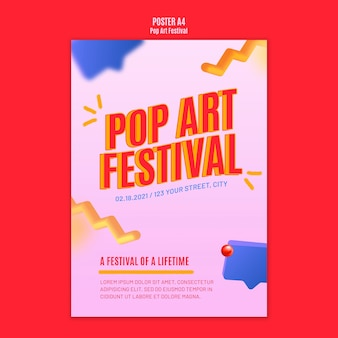 Modelo de pôster de festival de pop art