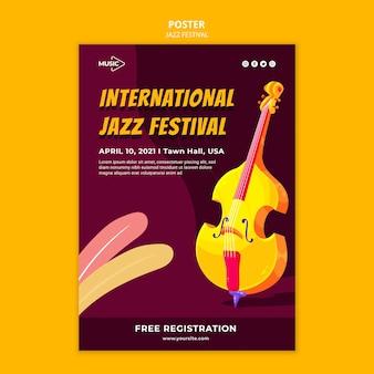 Modelo de pôster de festival internacional de jazz