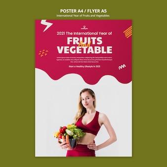 Modelo de pôster de frutas e vegetais para o ano