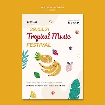 Modelo de pôster de frutas tropicais