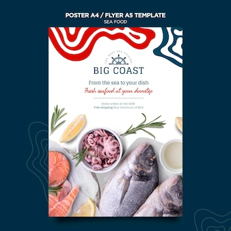 Modelo de pôster de frutos do mar