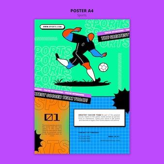 Modelo de pôster de futebol com ilustração vibrante