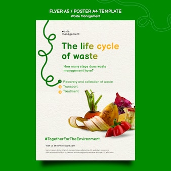 Modelo de pôster de gerenciamento de resíduos
