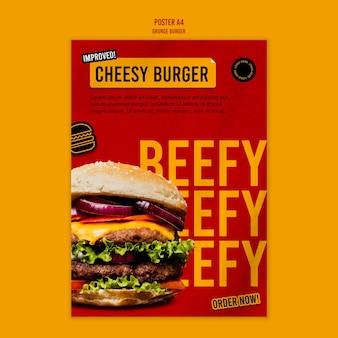Modelo de pôster de hambúrguer grunge