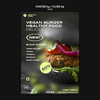 Modelo de pôster de hambúrguer vegano