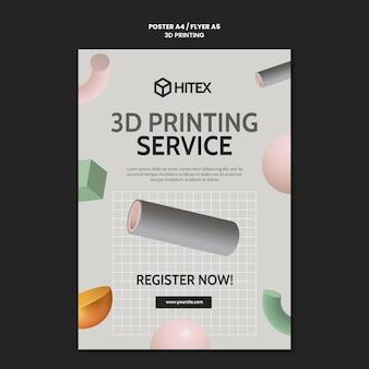Modelo de pôster de impressão 3d