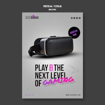 Modelo de pôster de jogos de realidade virtual