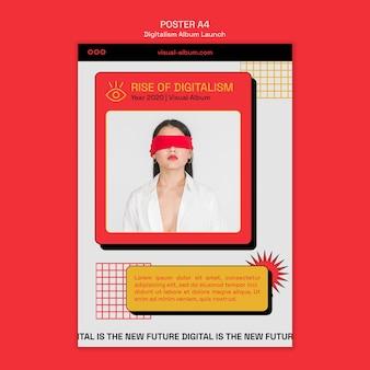 Modelo de pôster de lançamento de álbum digital com foto
