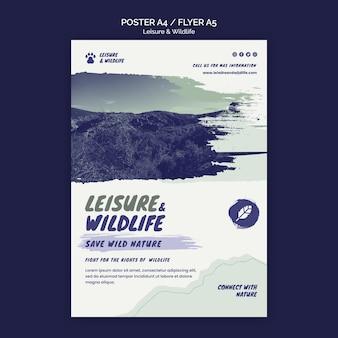 Modelo de pôster de lazer e vida selvagem