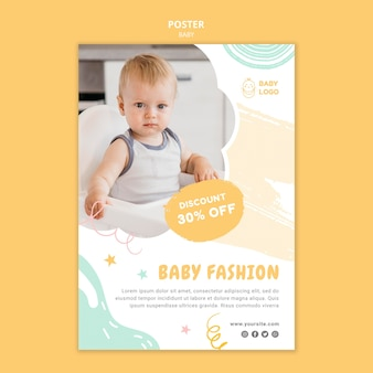 Modelo de pôster de loja de bebês com oferta