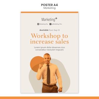 Modelo de pôster de marketing com foto