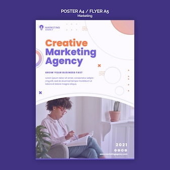 Modelo de pôster de marketing criativo