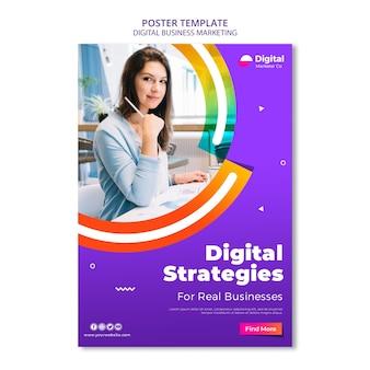 Modelo de pôster de marketing de negócios digitais Psd grátis