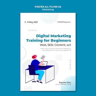 Modelo de pôster de marketing digital