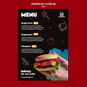 Modelo de pôster de menu de hambúrguer delicioso