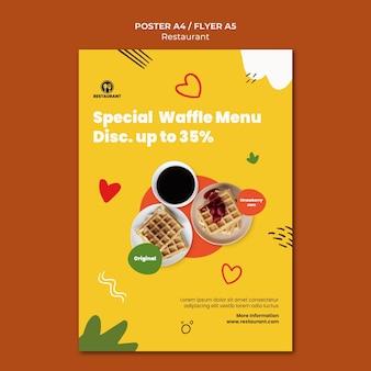 Modelo de pôster de menu especial de waffles
