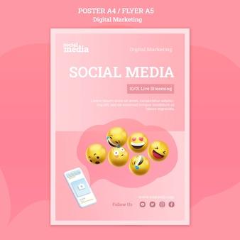 Modelo de pôster de mídia social