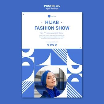 Modelo de pôster de moda hijab a4 com foto