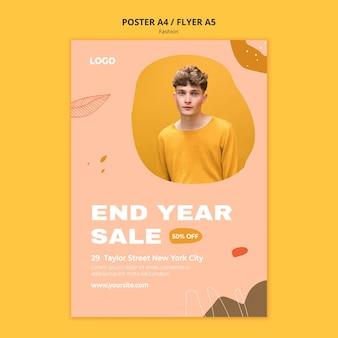 Modelo de pôster de moda masculina em promoção de fim de ano