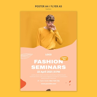 Modelo de pôster de moda masculina para seminários