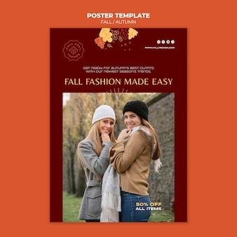 Modelo de pôster de moda outono