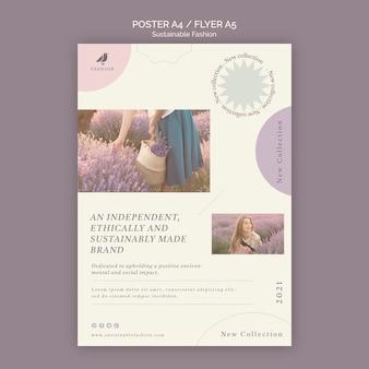 Modelo de pôster de moda sustentável