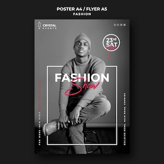 Modelo de pôster de modelo masculino para desfile de moda