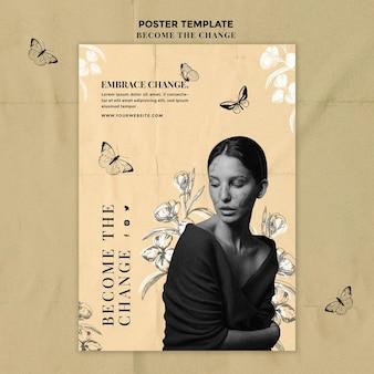Modelo de pôster de mulher e borboletas