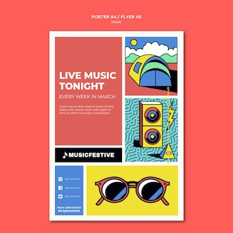 Modelo de pôster de música ao vivo