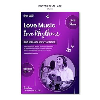 Modelo de pôster de música de amor Psd grátis