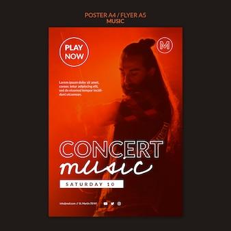 Modelo de pôster de música para concertos