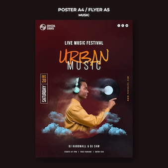 Modelo de pôster de música urbana