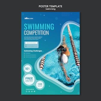 Modelo de pôster de natação com foto