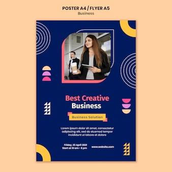 Modelo de pôster de negócios com formas coloridas