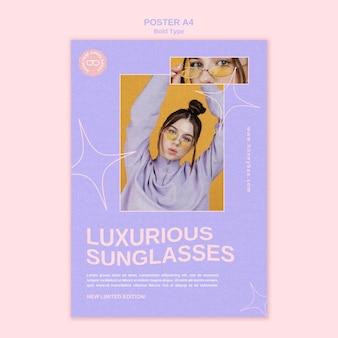 Modelo de pôster de óculos de sol luxuosos