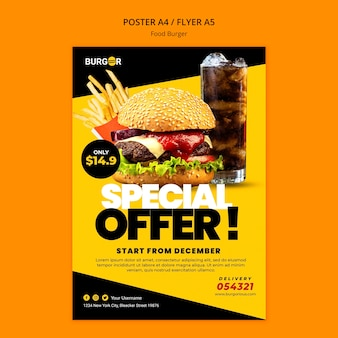 Modelo de pôster de oferta especial de hambúrguer
