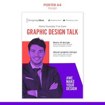 Modelo de pôster de palestra de design gráfico